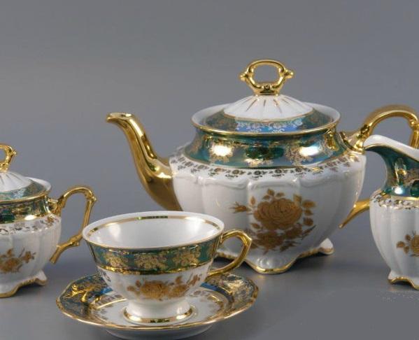 Чайный сервиз РОЗА ЗЕЛЕНАЯ