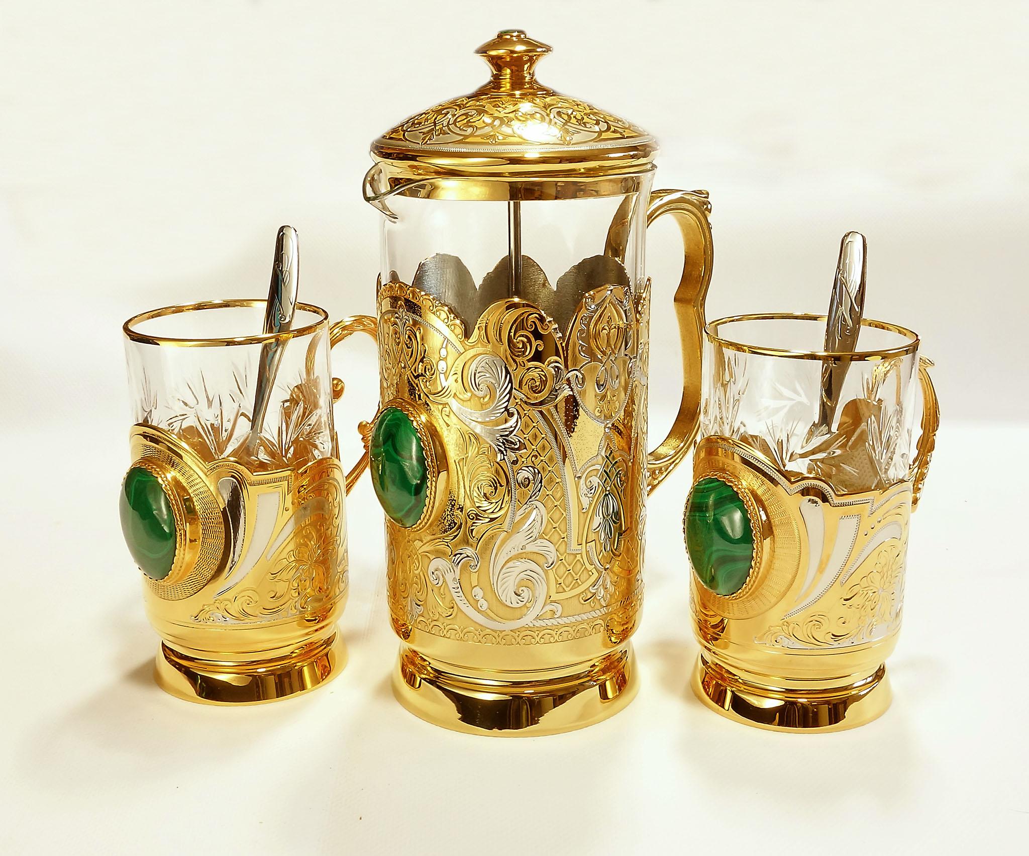 Чайный набор МАЛАХИТ из двух чашек, ложек и заварника от Zlatoust