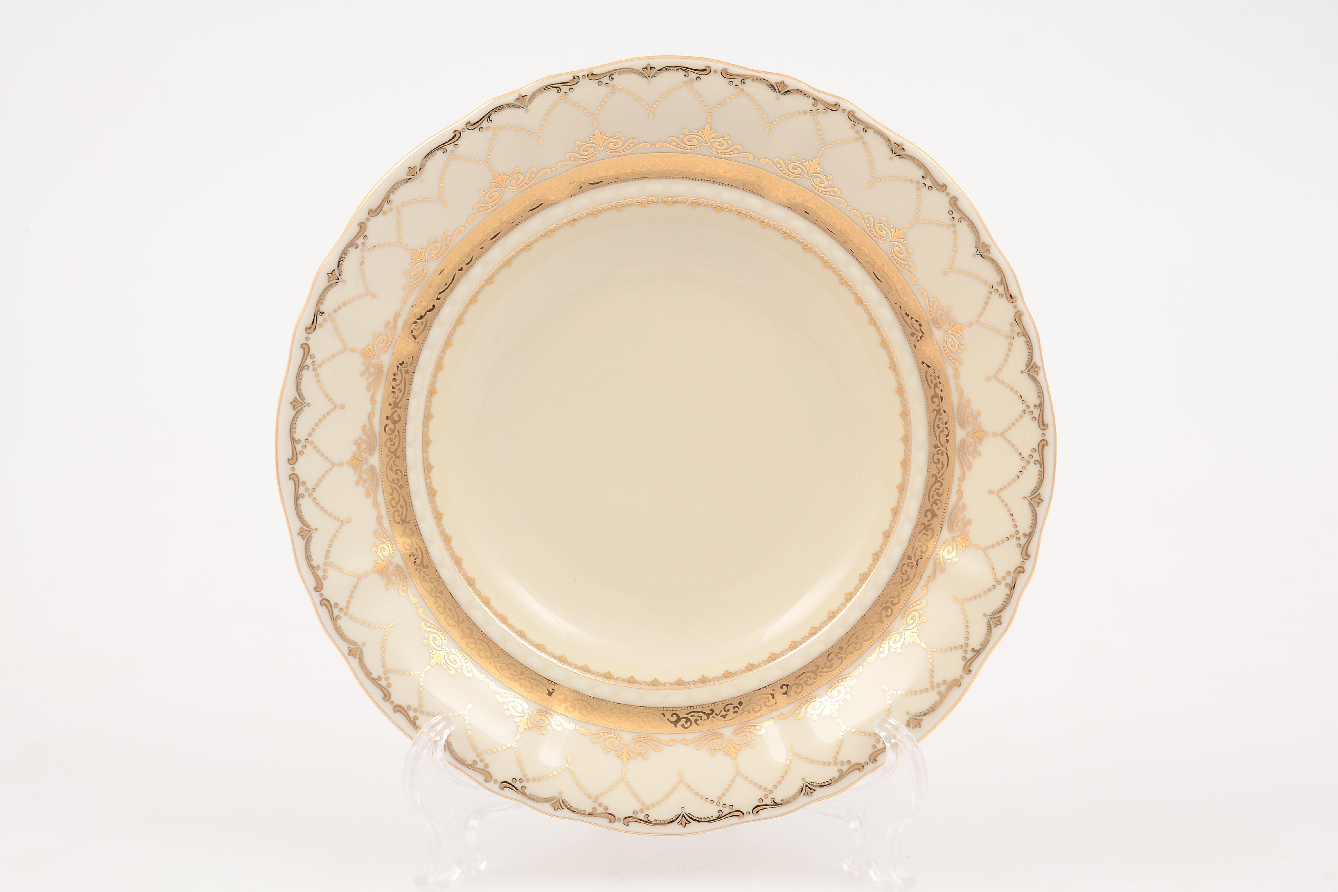 Набор глубоких тарелок 23 см СОНАТА, декор ЗОЛОТЫЕ УЗОРЫ 2517, фарфор цвета слоновой кости, от Leander, 6 шт.