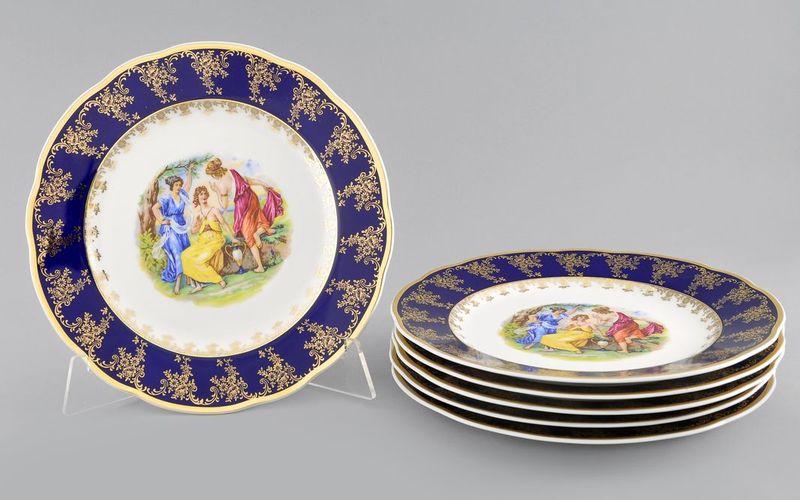 Набор тарелок мелких 25 см МЭРИ-ЭНН МАДОННА кобальт от Leander, 6 шт.