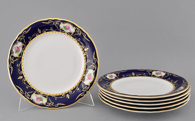 Набор тарелок мелких 25 см СОНАТА МЕЛКИЕ ЦВЕТЫ КОБАЛЬТ от Leander, 6 шт.