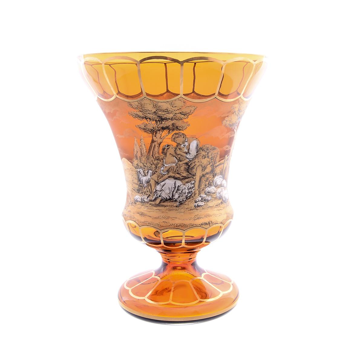 Ваза 31 см для цветов из стекла янтарного цвета от Egermann