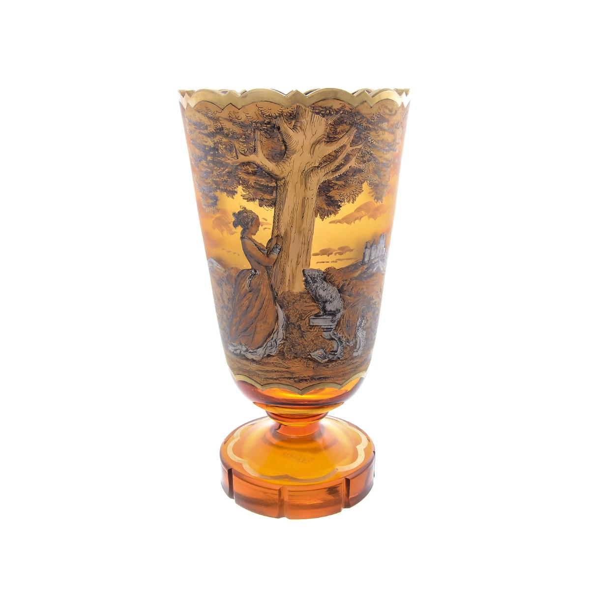 Ваза 27 см для цветов из стекла янтарного цвета от Egermann