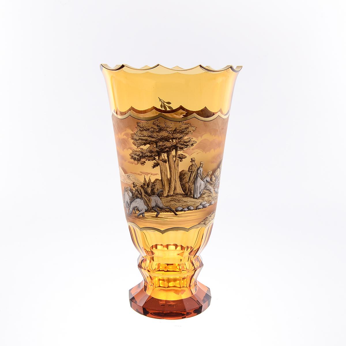 Ваза 29 см для цветов из стекла янтарного цвета от Egermann