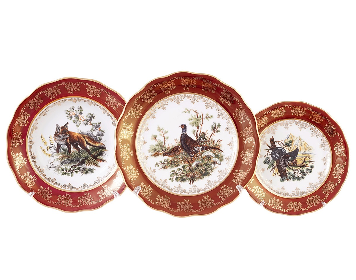 Набор тарелок ОХОТА КРАСНАЯ расцветка от Queens Crown (Prince Porcelain) на 6 персон, 18 шт.
