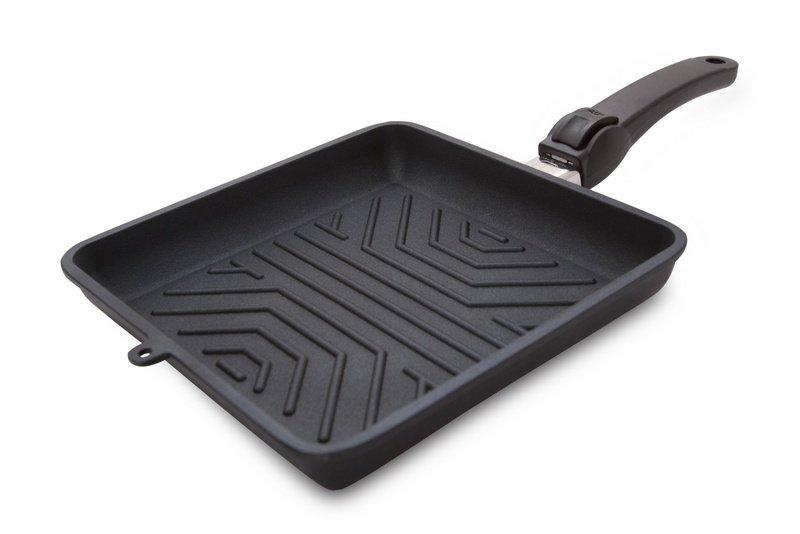 Квадратная сковорода-гриль со съемной ручкой DIAMANT от SKK, 24 см, литой алюминий