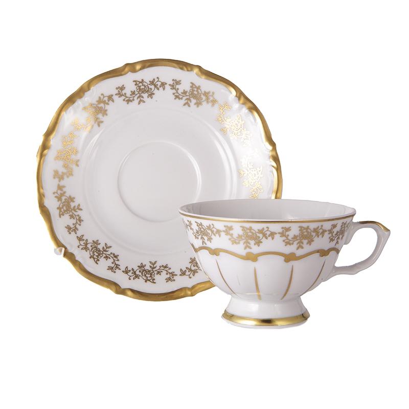 Набор фарфоровых чайных пар 200 мл МАРИЯ ТЕРЕЗА 2752 от Bavarian Porcelain, 6 пар