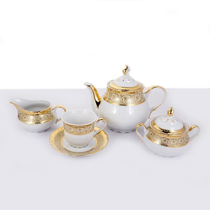 Сервиз чайный фарфоровый КОНСТАНЦИЯ, декор 7636300, от Thun 1794 a.s. на 6 персон, 15 предметов