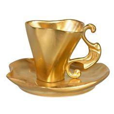 Чашка высокая 0.2 и блюдце ДАЛИ от Rudolf Kampf, декор - матовое золото