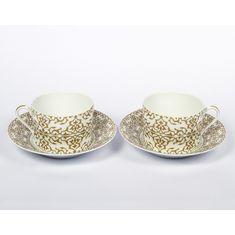 Набор чайных пар АЛЬГАМБРА (Alhambra) ЗОЛОТО от J.Seignolles