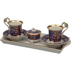 Подарочный набор для чая или кофе ТЕТ-А-ТЕТ 1024, сине-золотой декор, от Rudolf Kampf на 2 персоны