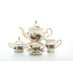 Чайный сервиз ЦВЕТЫ, фарфор цвета слоновой кости, от Sterne Porcelan на 6 персон