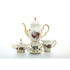 Кофейный сервиз ЦВЕТЫ, фарфор цвета слоновой кости, от Sterne Porcelan на 6 персон