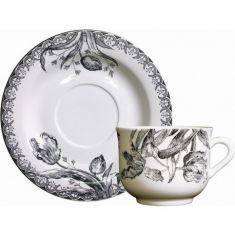 Чашка и блюдце для завтрака ЧЕРНЫЕ ТЮЛЬПАНЫ от Gien (Франция)