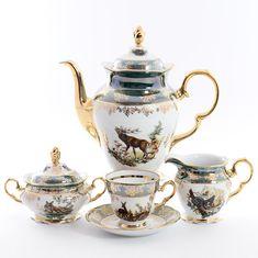 Кофейный сервиз ОХОТА ЗЕЛЕНАЯ расцветка от Queens Crown (Prince Porcelain)