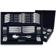 Набор десертных столовых приборов из серебра ИМПЕРАТОР в футляре от Argenta на 6 персон, 24 предмета