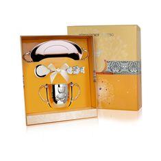 Набор детский МИШКА из столового серебра в футляре от Argenta, 3 предмета (блюдце, поильник, ложка)