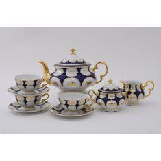 Чайный сервиз СОНАТА ЗОЛОТОЙ ЦВЕТОК КОБАЛЬТ от Leander на 6 персон, 17 предметов