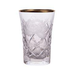 Набор стаканов 60 мл РОЗА, золотой декор, SUNROSE GOLD от Arnstadt Kristall, 6 шт., хрусталь