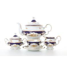 Чайный сервиз СОНАТА ЗОЛОТАЯ РОЗА КОБАЛЬТ от Leander на 6 персон, 17 предметов