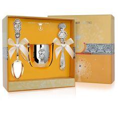 Набор детского серебра для девочки в футляре от Argenta, 3 предмета (кружка, ложка, погремушка)