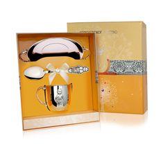 Набор детского серебра МАЛЬЧИК в футляре от Argenta, 3 предмета (кружка, ложка, тарелка)