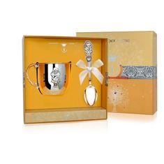 Набор детского серебра для девочки в футляре от Argenta, 2 предмета (кружка, ложка)