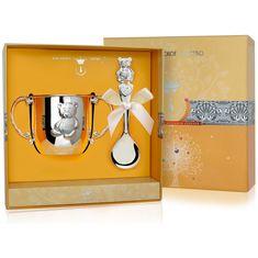 Набор детского серебра МИШКА в футляре от Argenta, 2 предмета (поильник, ложка)
