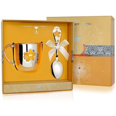 Набор детского серебра с эмалью ЗВЕЗДА в футляре от Argenta, 2 предмета (кружка, ложка)