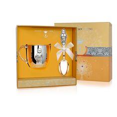 Набор детского серебра для мальчика в футляре от Argenta, 2 предмета (кружка, ложка)
