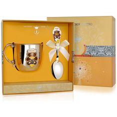 Набор детский МИШКА из столового серебра в футляре от Argenta, 2 предмета (кружка, ложка)