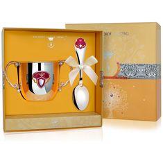 Набор детский ПРИНЦЕССА из столового серебра в футляре от Argenta, 2 предмета (поильник, ложка)