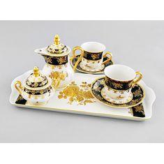 Подарочный набор для чая или кофе ТЕТ-А-ТЕТ, коллекция ЗОЛОТАЯ РОЗА КОБАЛЬТ, от Leander на 2 персоны, 6 предметов