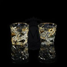 Пара стаканов для виски MONTE CRISTO от Migliore, хрусталь, золото 24 карата