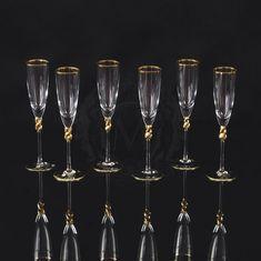 Хрустальные бокалы для шампанского AMORE от Migliore, декор - золото 24 карата
