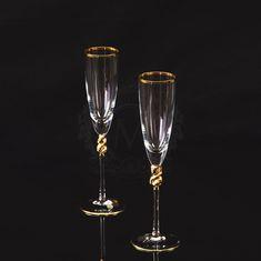 Пара хрустальных бокалов для шампанского AMORE от Migliore, декор - золото 24 карата