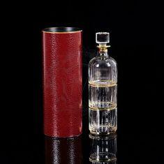 Набор для виски BINGO - графин и 2 стакана в тубусе, янтарный хрусталь, декор - золото