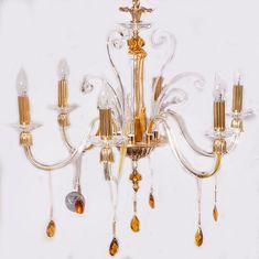 Янтарно-золотая люстра ALICANTE от Euroluce, 6 рожков