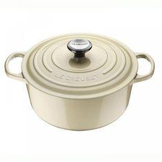 Чугунная кастрюля круглая для запекания (жаровня) с крышкой от Le Creuset, 26 см, жемчужный цвет