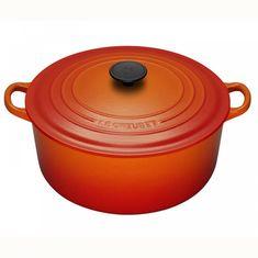 Чугунная кастрюля круглая для запекания (жаровня) с крышкой от Le Creuset, 26 см, цвет оранжевая лава