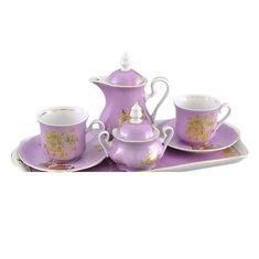 Подарочный фарфоровый набор тет-а-тет для кофе МЭРИ-ЭНН, декор ЗОЛОТАЯ РОЗА РОЗОВЫЙ цвет от Leander