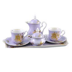 Подарочный фарфоровый набор тет-а-тет для кофе МЭРИ-ЭНН, декор ЗОЛОТАЯ РОЗА ФИОЛЕТОВЫЙ цвет от Leander