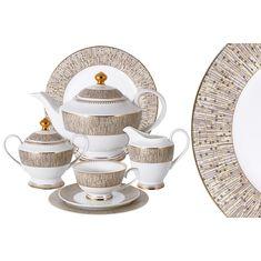 Чайный фарфоровый сервиз ЛУКСОР от Midori на 12 персон, 42 предмета