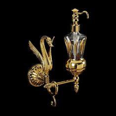 Дозатор жидкого мыла с лебедем настенный LUXOR от Migliore, хрусталь, декор золото