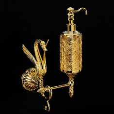 Дозатор жидкого мыла с лебедем настенный LUXOR от Migliore, стекло, декор золото