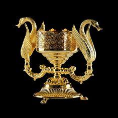 Мыльница с двумя лебедями настольная LUXOR от Migliore, стекло, декор золото