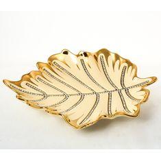 Декоративное блюдо-лист из фарфора от Bruno Costenaro, декор - золото со стразами