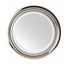 Зеркало круглое DUBAI в керамической раме от Migliore, d. 69 см, декор платина, swarovski