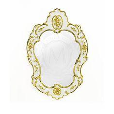 Зеркало настенное 57х84 см EMOZIONI от Migliore, керамика, цвет белый, декор золото, swarovski