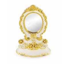 Белое настольное зеркало EMOZIONI от Migliore, высота 48 см, керамика, золото, swarovski